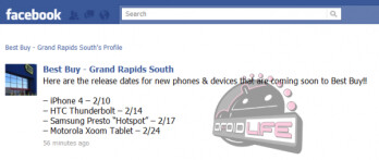 Best Buy's Facebook page reveals HTC Thunderbolt and Motorola XOOM launch dates