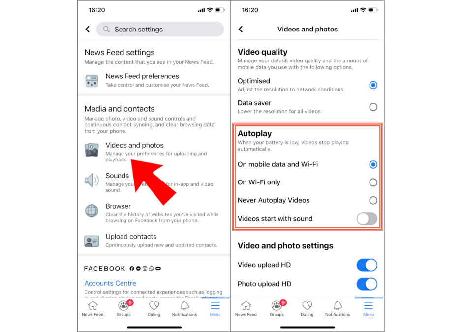 Videos and photos→ Autoplay - How to mute Facebook video autoplay, or disable autoplay entirely