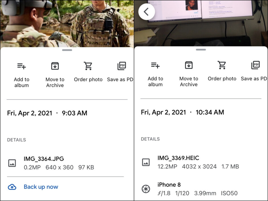 Google Photos on the right; Amazon Photos on the left - How to check image size, resolution, and more on your iPhone or iPad