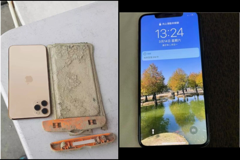 The iPhone 11 Pro Max, after spending a year on the lake bottom - iPhone recovered after surviving a year underwater