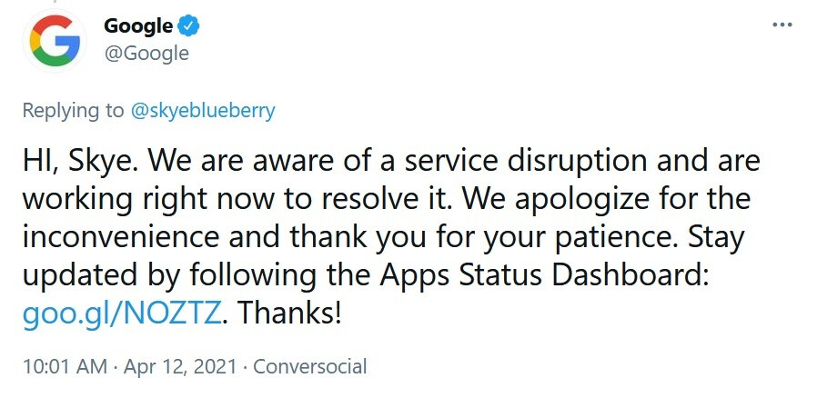 Google confirms that several of its apps are down as the U.S. workweek gets underway - Google knows that some of its popular apps are not working today