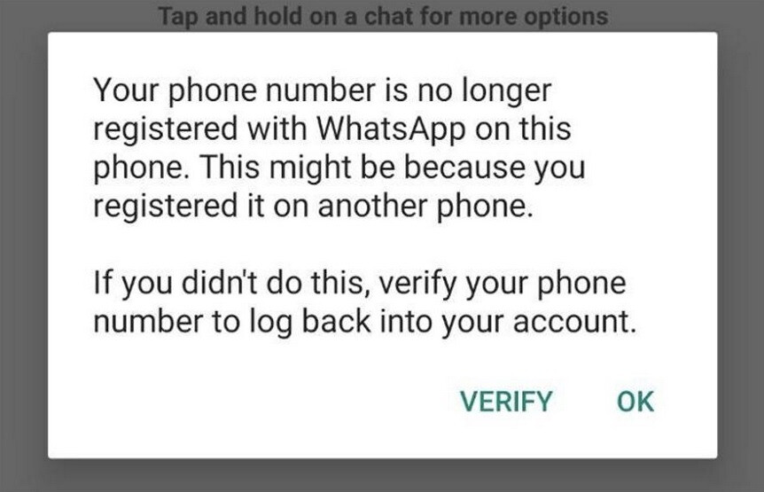 Attackers can deactivate your WhatsApp account without your permission - Attacker can use a WhatsApp subscriber's phone number to suspend his service