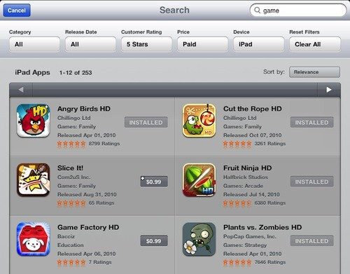 iPad's App Store now supports filtering