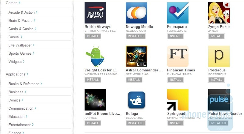 Android Market on the Web is hit-or-miss, we discover a few bugs