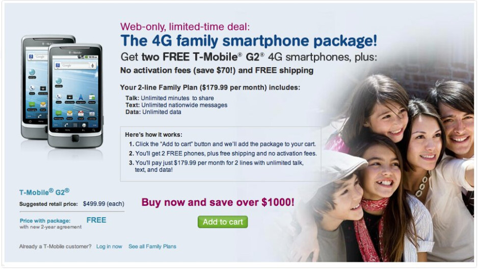 T-Mobile is offering 2 free G2 units to new customers signing with an unlimited family plan