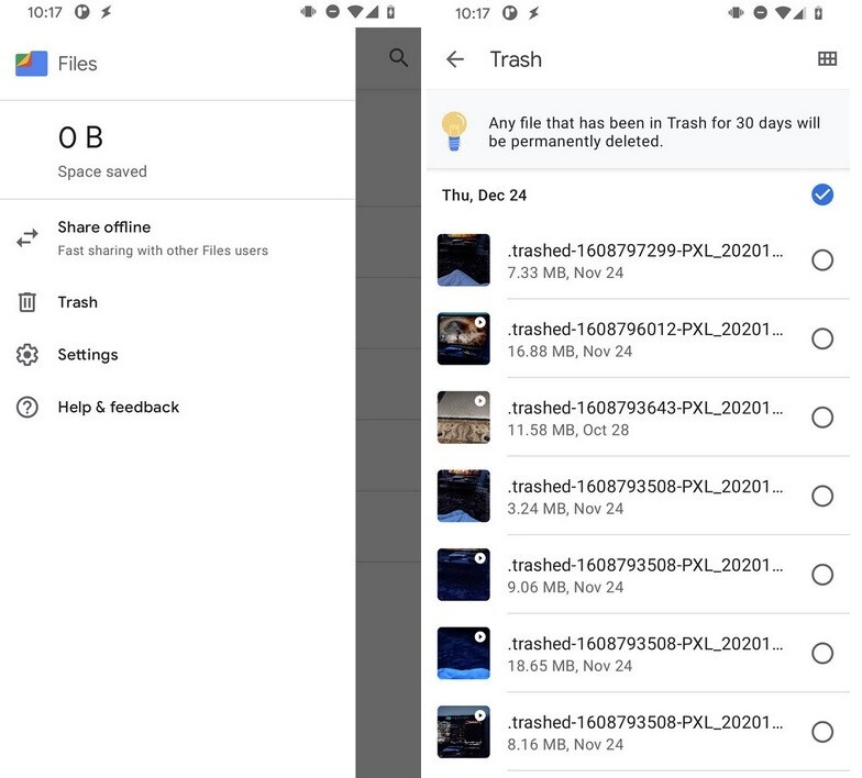 The Files by Google app should be able to store and permanently delete trash in Android 12 - Trash cans in Android 12 could allow you to store, restore, or permanently delete files