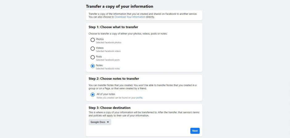 How to transfer your Facebook Posts and Notes in five simple steps