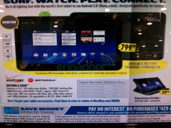 According to this circular, the Motorola XOOM will be available at Best Buy, starting February 24th, for $799.99