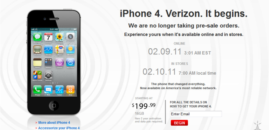 Verizon will start real time online ordering of the Apple iPhone 4 on Wednesday at 3am EST; the device will be available in stores atarting Thursday at 7am local time - Verizon to start real time ordering of the Apple iPhone on 2/9; phone to be in stores on 2/10