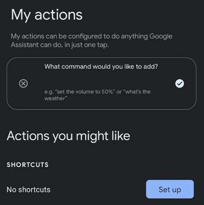 The setup screen found by XDA for the upcoming Google Assistant feature My Actions. - Hidden code reveals very useful feature for Google Assistant users
