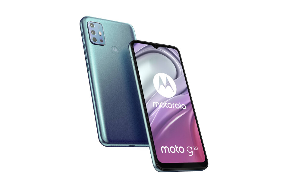 Moto G20 in Sky Blue - Moto G20 leaks again with a quad-camera array, headphone jack, and unimpressive chip