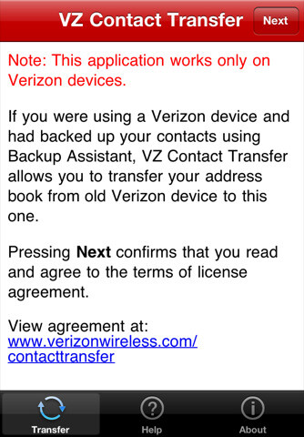 VZ Contact Transfer app available for your iPhone 4 to ease the transition pains