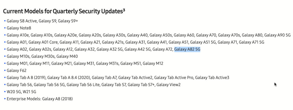 Samsung just mentioned the unreleased 'Galaxy A82 5G' on its website