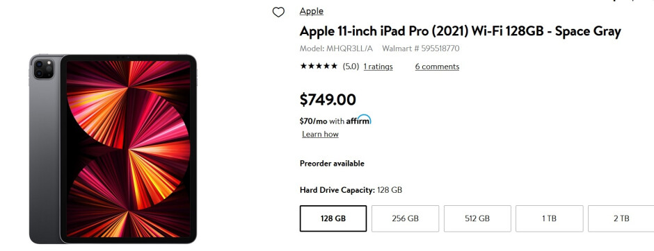 Walmart has the Wi-Fi only 11-inch 128GB/256GB iPad Pro on sale - Take $50 off pre-orders of certain 11-inch Apple iPad Pro (2021) models at Walmart