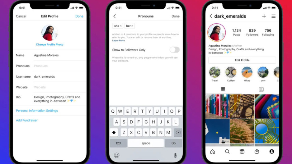 Instagram will now officially display your pronouns