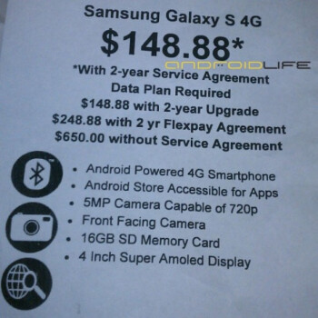 Samsung Galaxy S 4G to cost $149 at Walmart