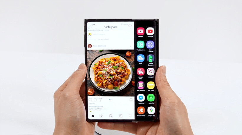 Samsung's Slider or rollable design expands the right side of the display while in landscape mode - Samsung plans on revealing these foldable screens this week
