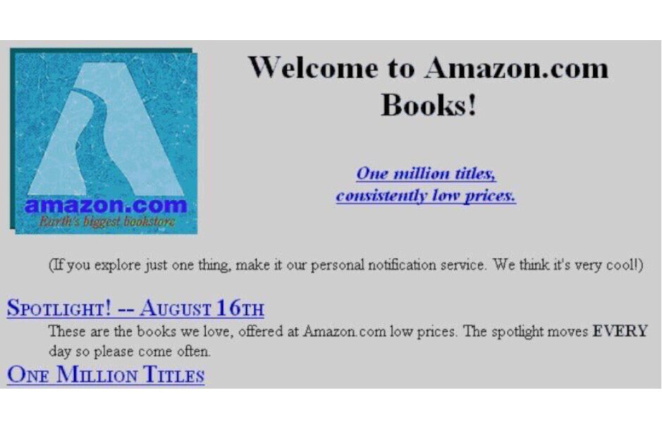 The Amazon website in 1995 - How Amazon came to be: a Prime Day history special