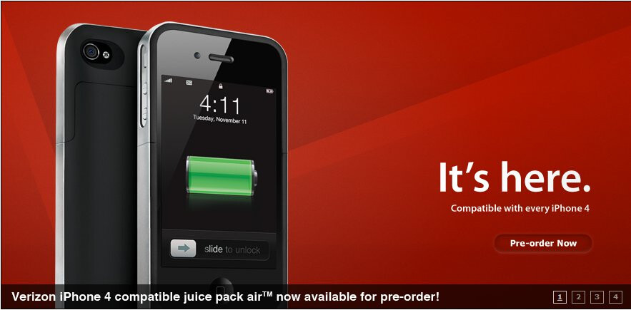Pre-orders are available for the universal Mophie Juice Pack Air for the iPhone 4