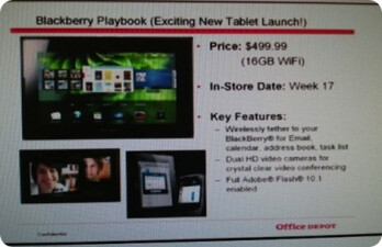 Office Depot will sell the BlackBerry PlayBook for $499.99?