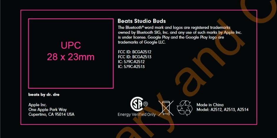 Image of the FCC label to be used on the earbuds packaging confirms the Beats Studio Buds name - LeBron photographed wearing unreleased Beats Studio Buds; FCC confirms the name