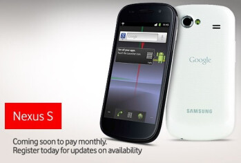 Vodafone's register site for the Google Nexus S is live - available in black & white