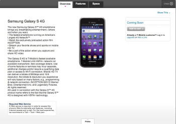 """Coming Soon"" page is now up on T-Mobile's site for the Samsung Galaxy S 4G"