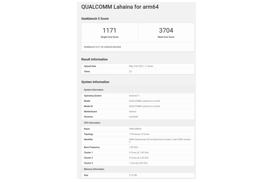 Snapdragon 888+ alleged Geekbench scores - Qualcomm Snapdragon 888+ seemingly turns up on Geekbench