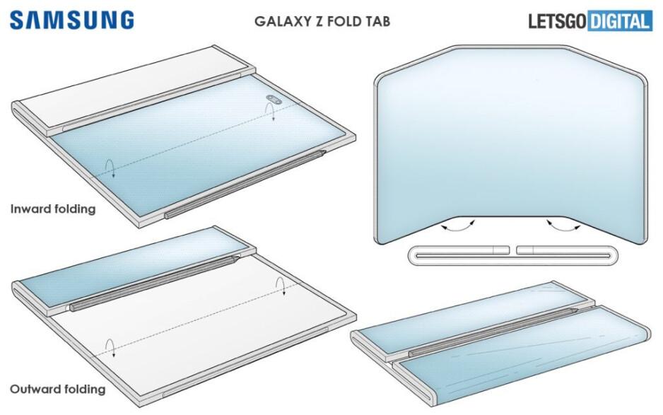 Samsung a déposé deux brevets liés au Galaxy Z Fold Tab - le Galaxy Z Fold Tab apparaît avec deux charnières et un grand écran semblable à une tablette
