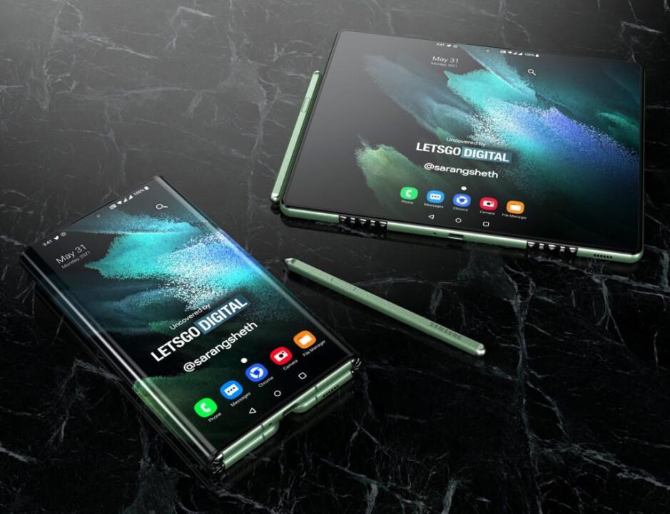 Le rendu montre comment le Galaxy Z Fold Tab pourrait passer d'un écran de la taille d'un téléphone à un grand écran de type tablette - triplé le Galaxy Z Fold Tab avec deux charnières et un grand écran de type tablette