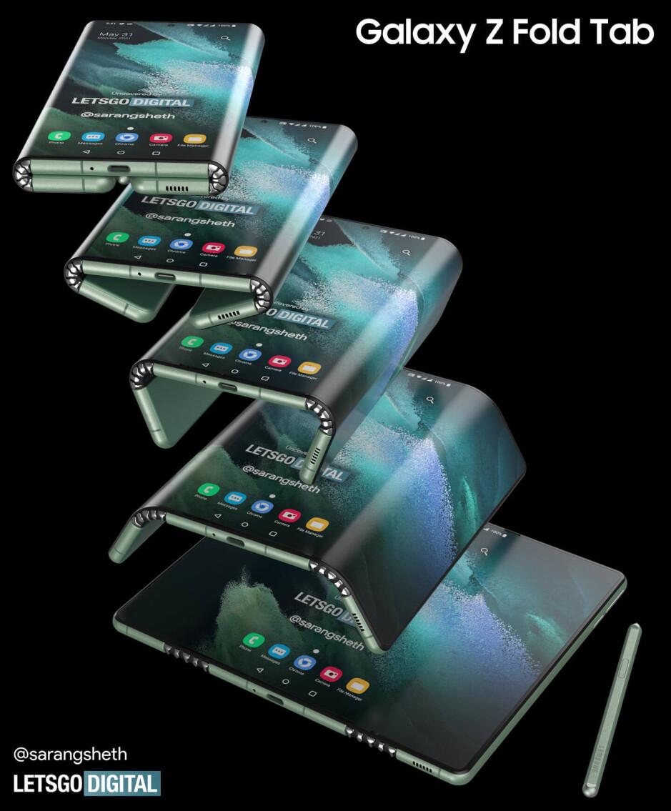 Rendus de la Galaxy Z Fold Tab - La Galaxy Z Fold Tab apparaît en trois volets avec deux charnières et un grand écran semblable à une tablette