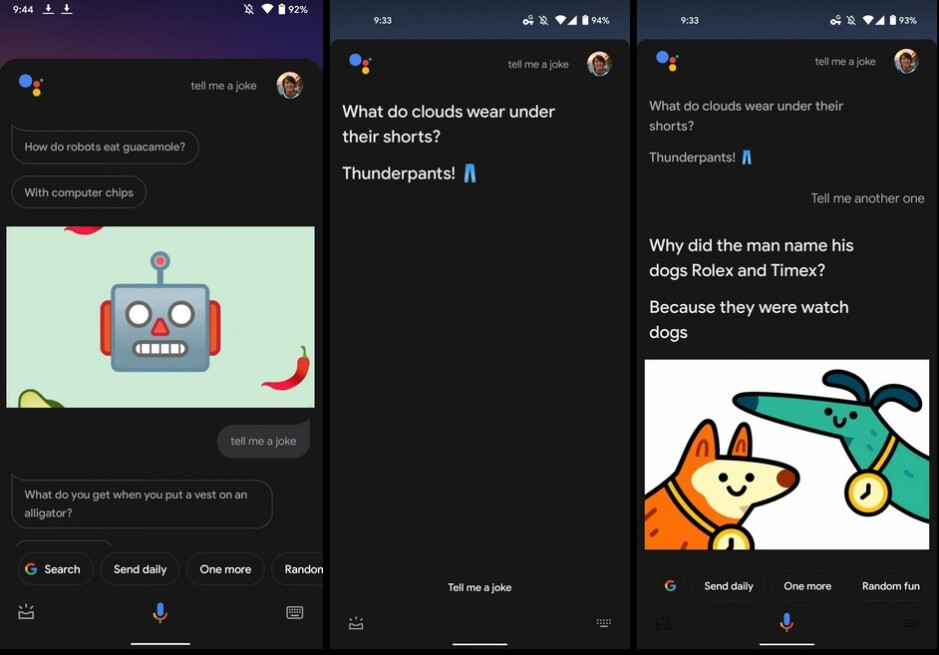 At left, the old look with dialogue balloons. At center and right, the updated look with larger, bolded text - Google Assistant to replace dialogue bubbles and small text with large bolded print