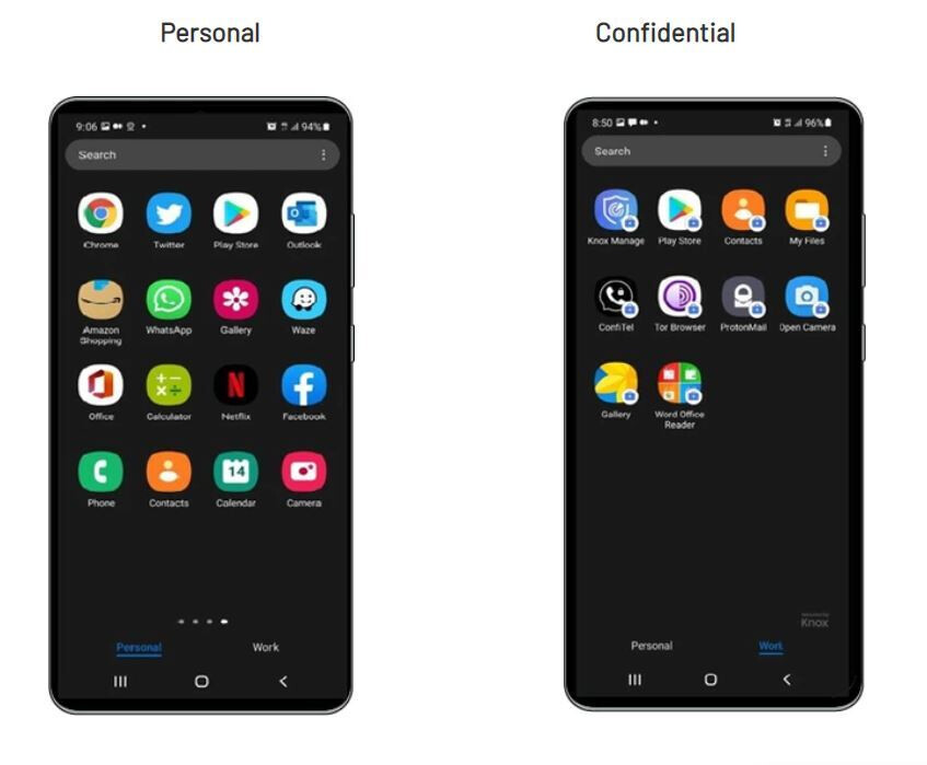 Personal mode on the left and Work Space mode on the right - A $2,650 Galaxy S21 called the Sirin V3 comes with military-grade security