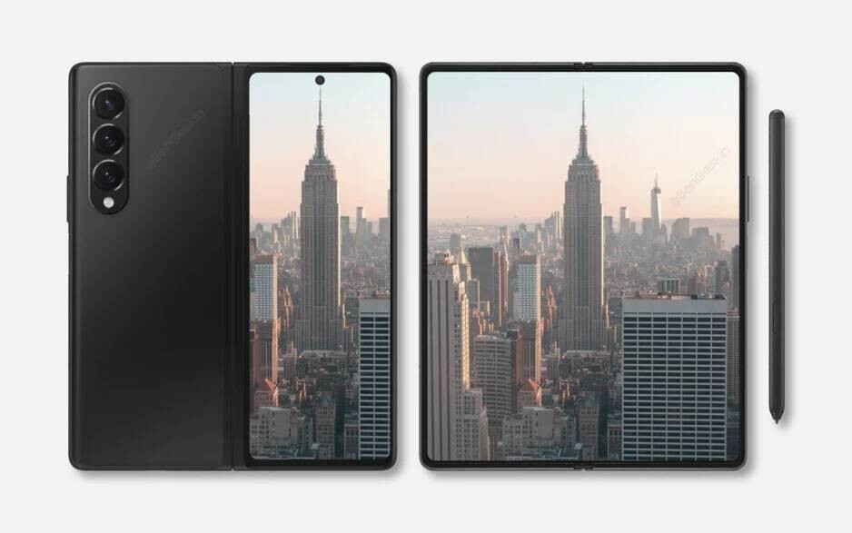 Samsung Galaxy Z Fold 3 renders based on leaks - Galaxy Z Fold 3 under-panel camera as good as typical ones, but there's still a glaring problem: tip