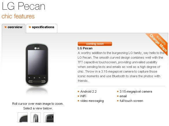 """Android 2.2 powered LG Pecan is """"coming soon"""" to Orange UK"""