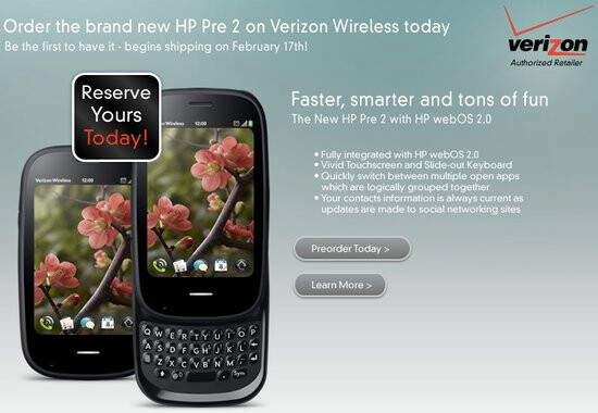 HP is throwing pre-orders for the Pre 2 - $99.99 on-contract & ships February 17th