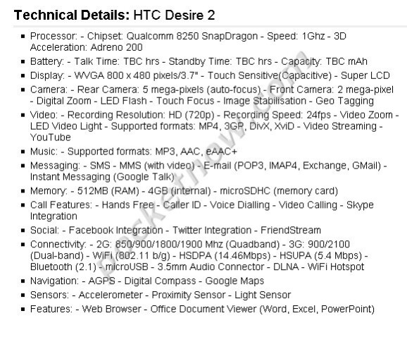 Alleged specs of the Galaxy S 2, Desire HD2, Desire 2 and Wildfire 2 are leaked