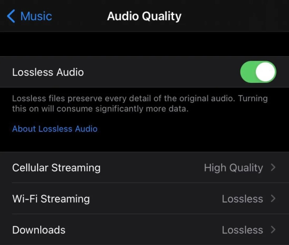 Apple iPhone users who have received the update can choose to receive audio in High Quality or Lossless depending on the platform being used to receive the audio streams - Apple's server-side update adds Spatial Audio and Lossless Audio to Apple Music streams