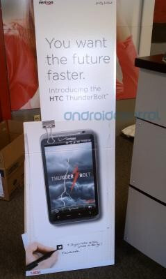In-store display at Verizon (L) for the HTC  Thunderbolt could mean a launch is imminent, Best Buy plans to offer the  devic