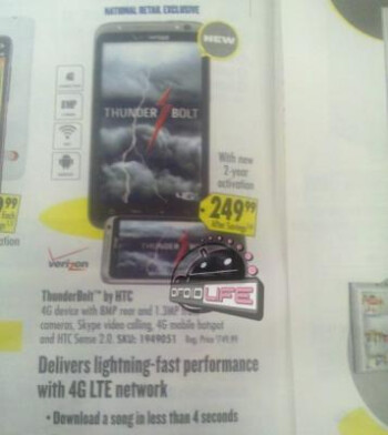 In-store display at Verizon (L) for the HTC  Thunderbolt could mean a launch is imminent, Best Buy plans to offer the  device (R) for $249.99 with a signed 2-year pact