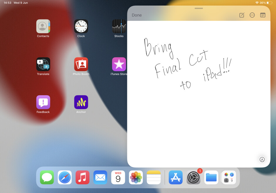 Opening a Quick Note can be done over the home screen or any app - iPadOS 15 hands-on – all new features and changes