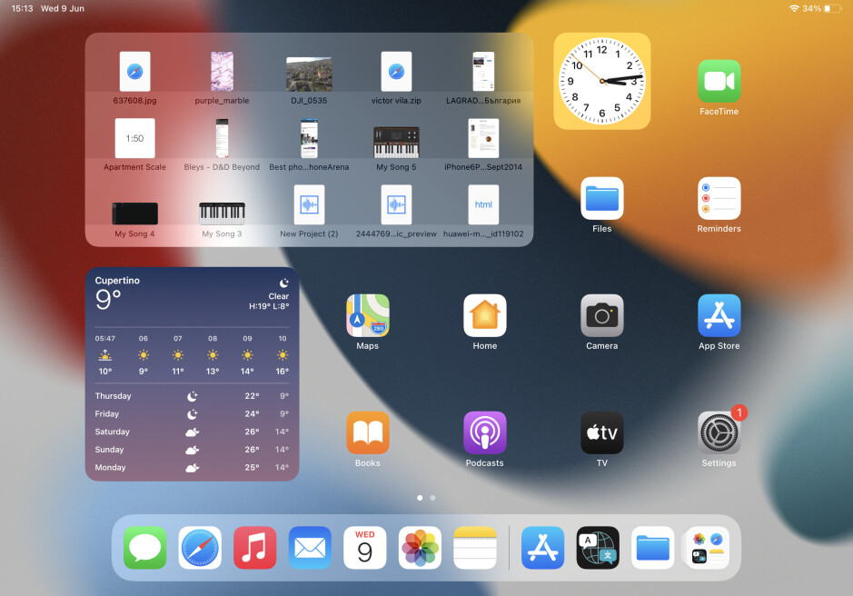 iPad widgets can now be placed anywhere on the home screen, can be larger, and we even get a Files widget (top left) - iPadOS 15 hands-on – all new features and changes