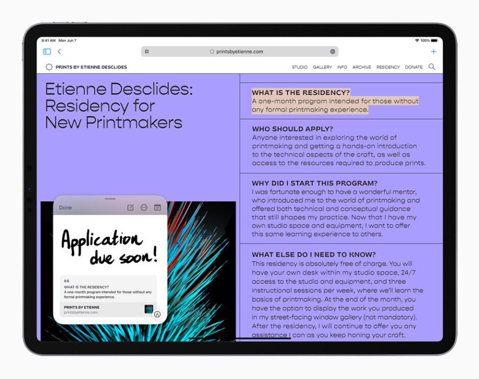 Este año, el iPad recibe un regalo especial: Quick Note, que se puede activar en cualquier momento, y más.  - iOS 15 y iPadOS 15 hacen que las notas de Apple sean más notables que nunca: todas las funciones nuevas