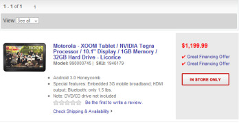 Is Best Buy selling the Motorola XOOM for $1,199 or  is this just a placeholder?