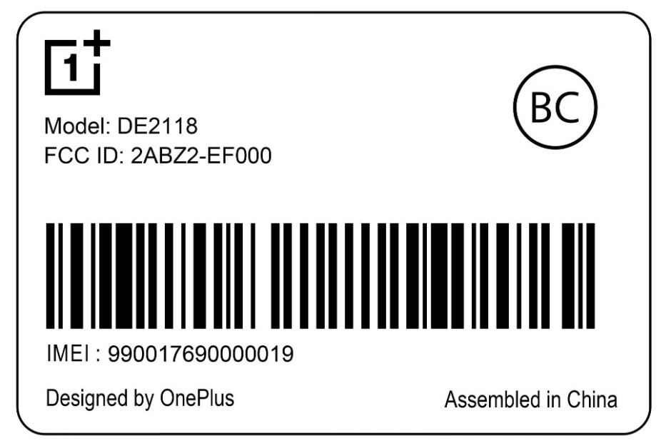 Copy of the smartphone label for model DE2118 - FCC document hints at imminent unveiling of new U.S. OnePlus Nord handset