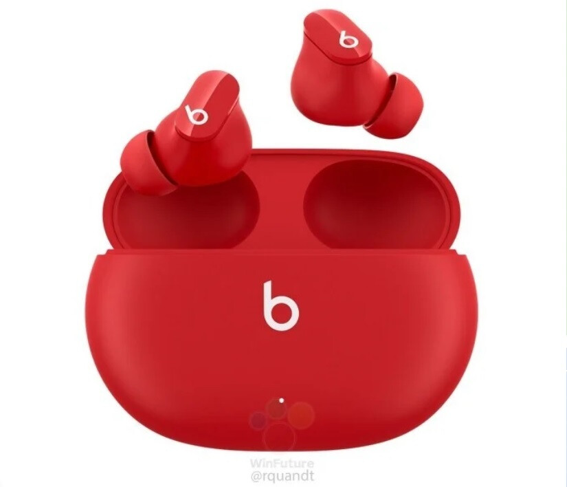 Beats Studio Buds and carrying case render in red - Report says introduction of Beats Studio Buds is imminent
