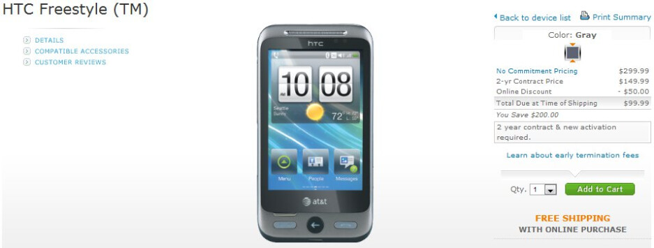 AT&T's HTC Freestyle is now available for $99.99 on-contract