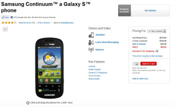 Verizon lowers the price of the Samsung Continuum to $99.99