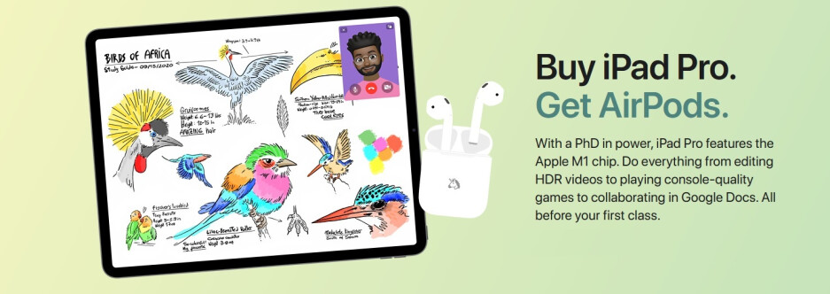 Apple launches the 2021 Back to School promotion - Students get free AirPods with an iPad Pro or iPad Air purchase during promo