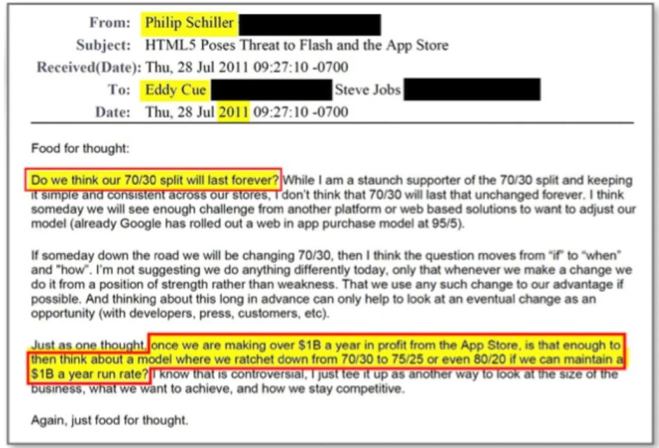 """2011 email from Apple's Phil Schiller that correctly forecast problems with Apple's 70-30 split on in-app payments - Phil Schiller correctly saw the future of Apple's 30% """"Tax"""" a decade ago"""
